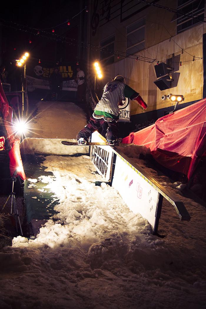 snowboarding rail jam
