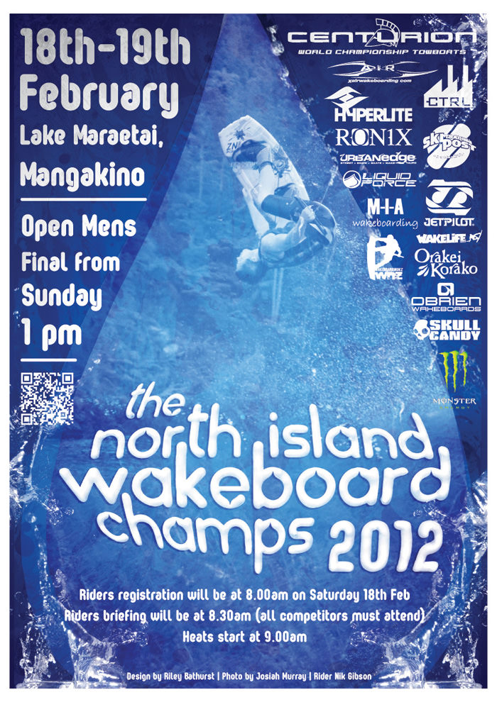 blue poster with wakeboarding and 3d text and lots of logos