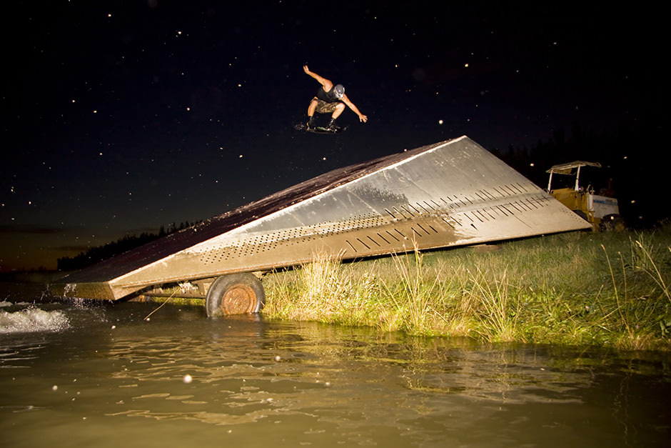 wakeboard trick on a ski jump