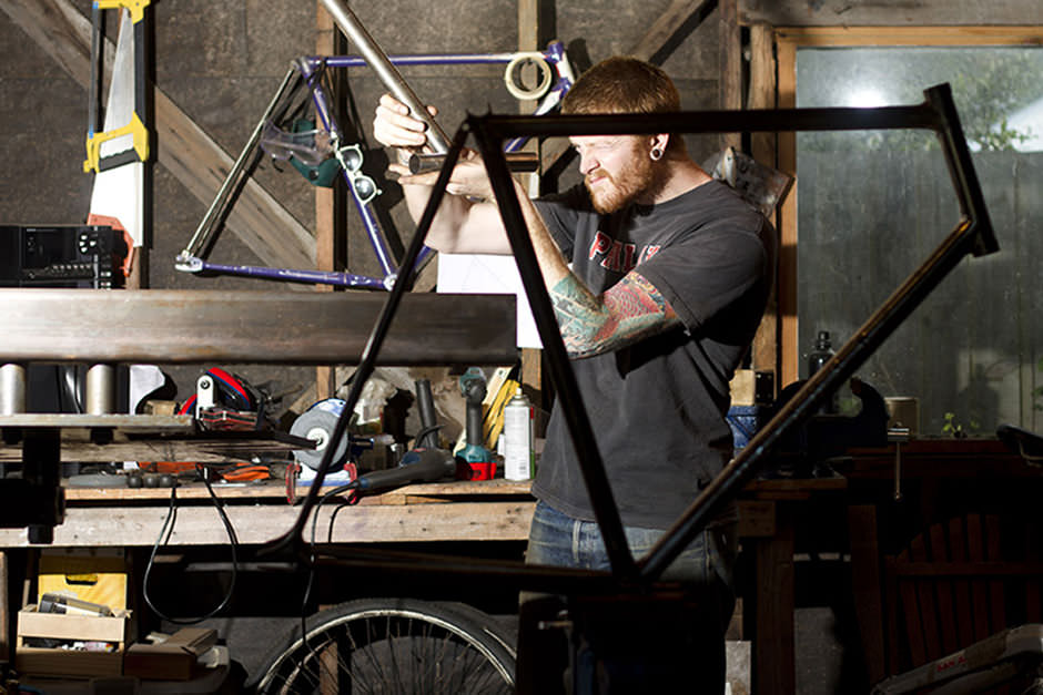 bicycle building editorial photo