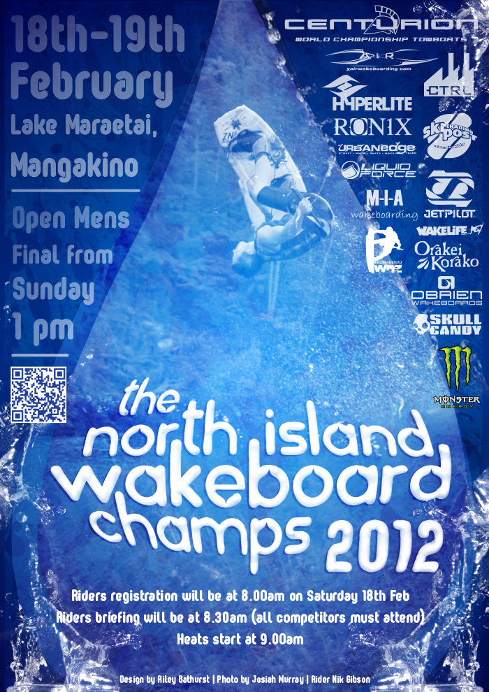 north island wakeboard champs poster design