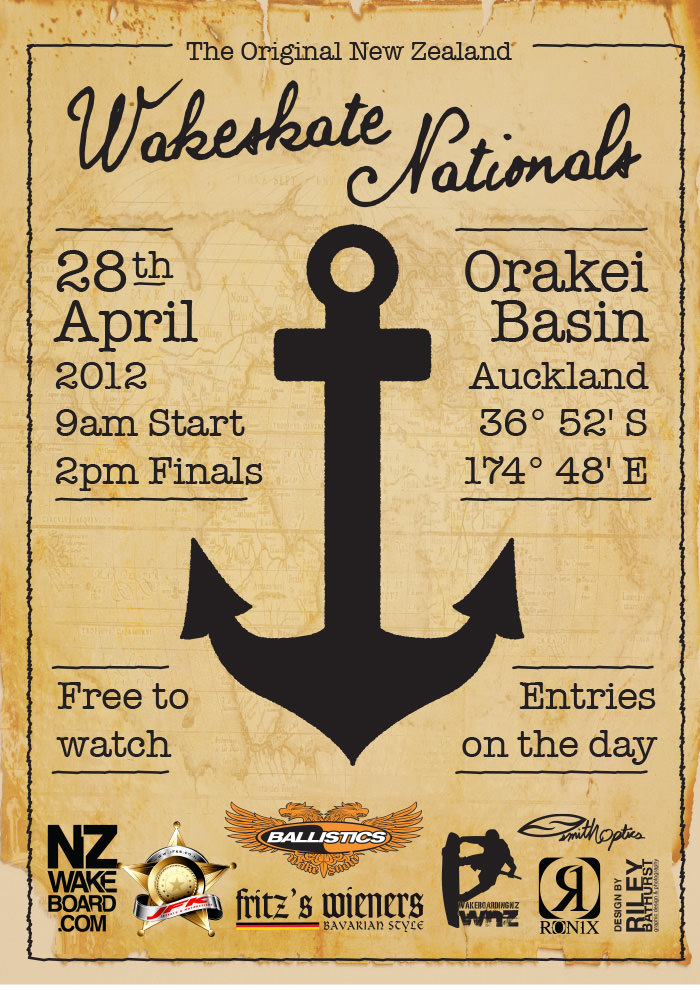 new zealand wakeskate nationals poster design