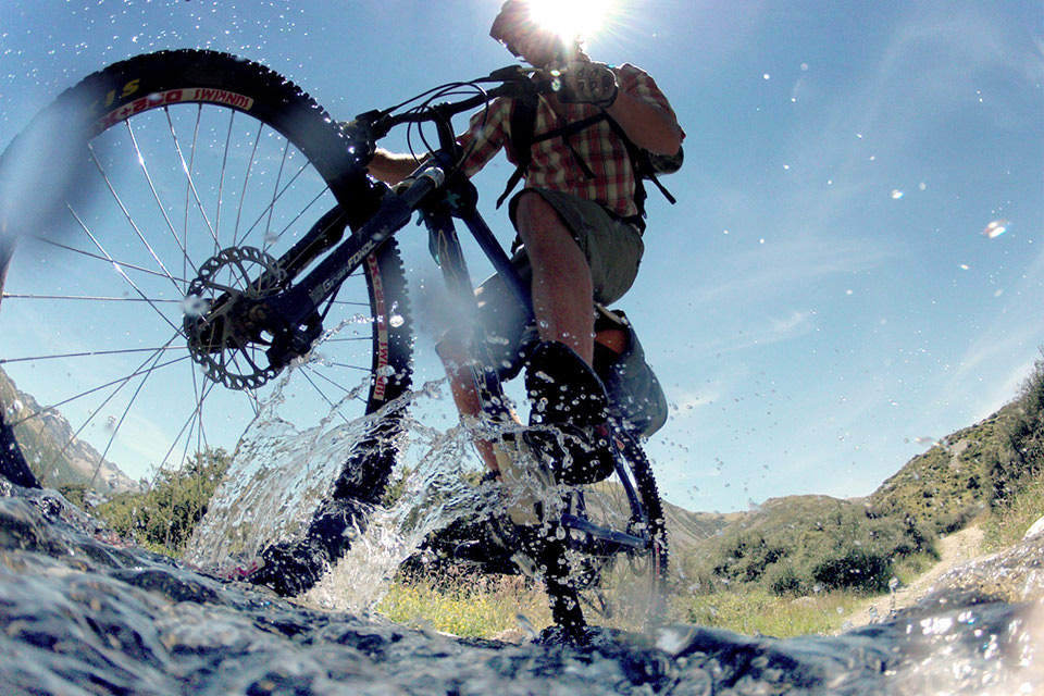 mountain biking from river level