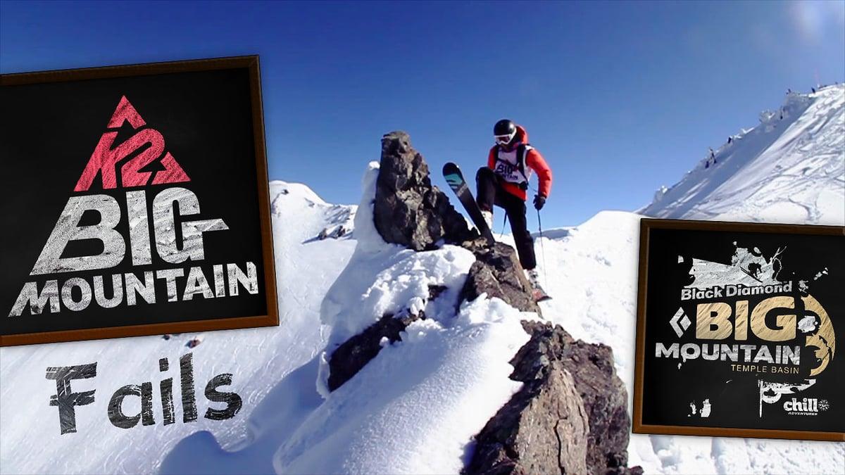 skier climbing up rocks