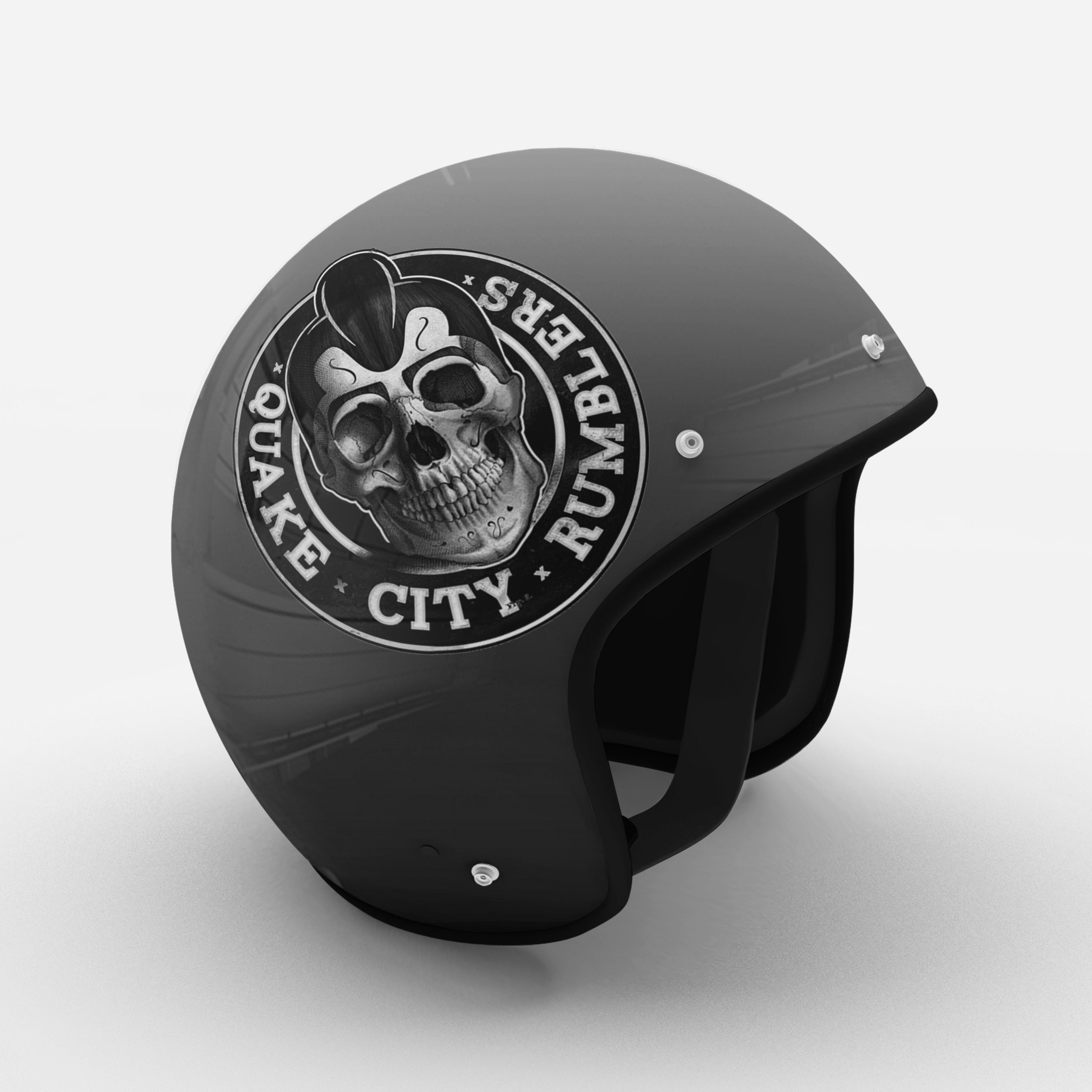 quake city rumbler logo on a motorcycle helmet