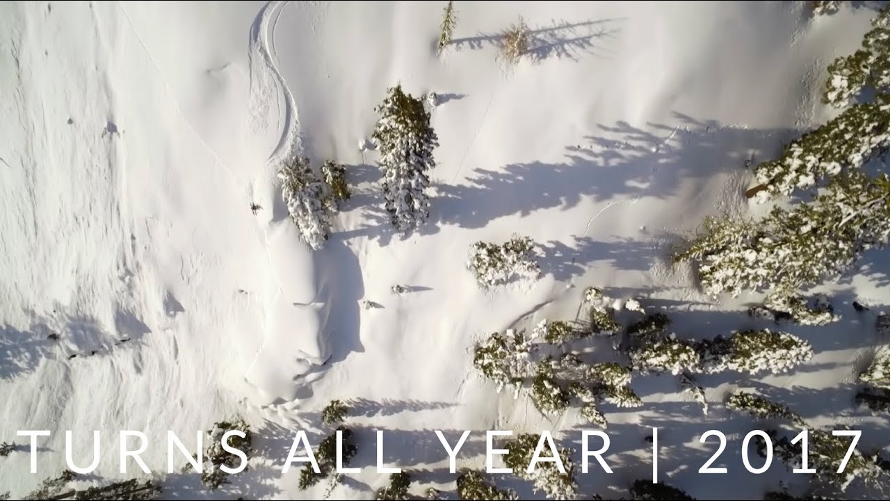 drone image of skiing