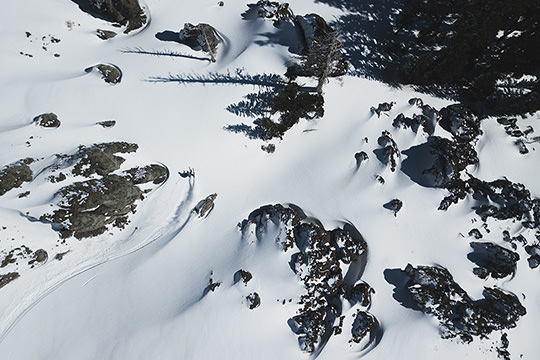 drone photo of skiing