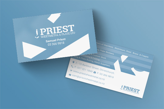 priest sheetmetal business cards