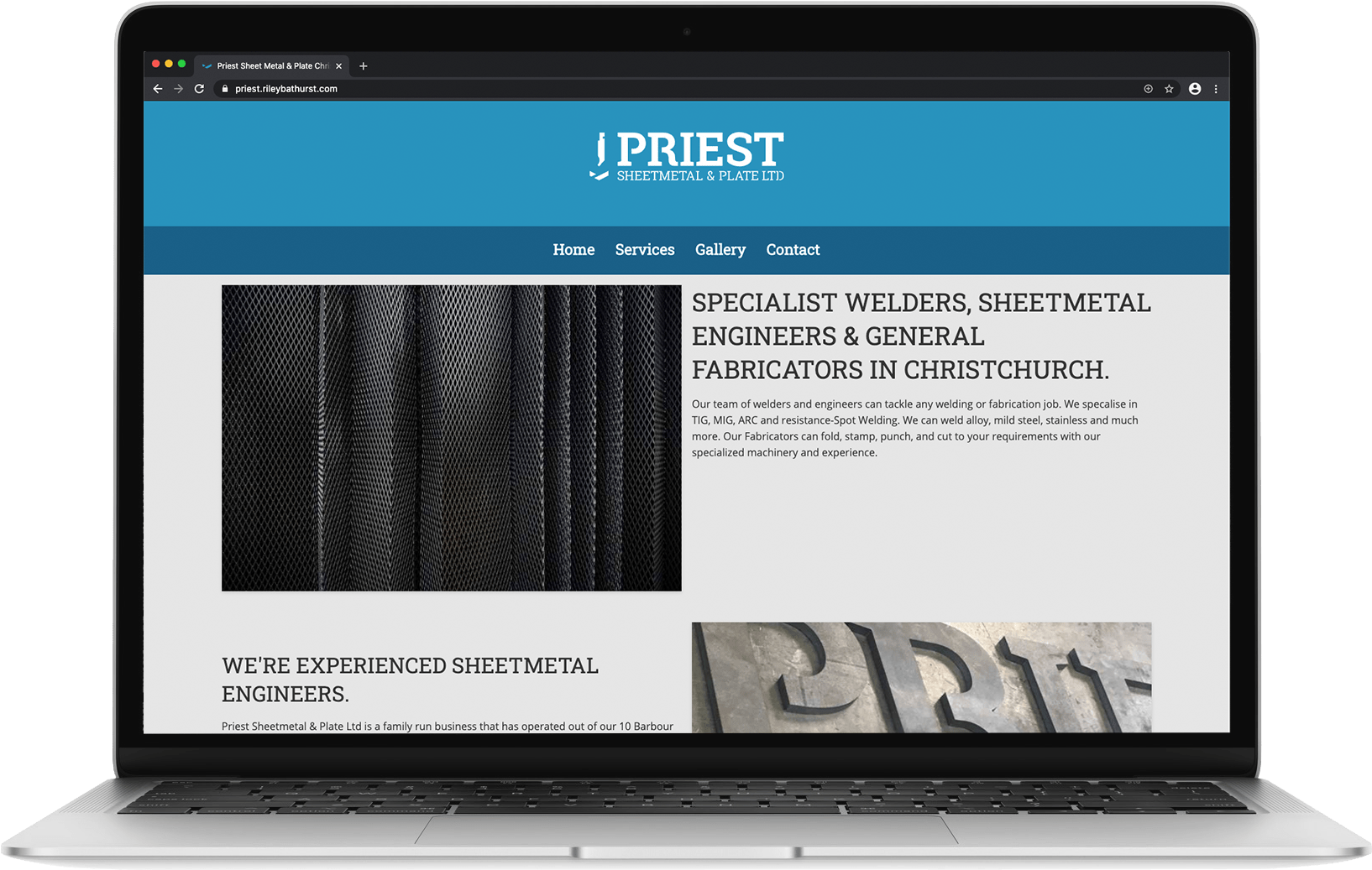 priest sheet metal website on a MacBook Air