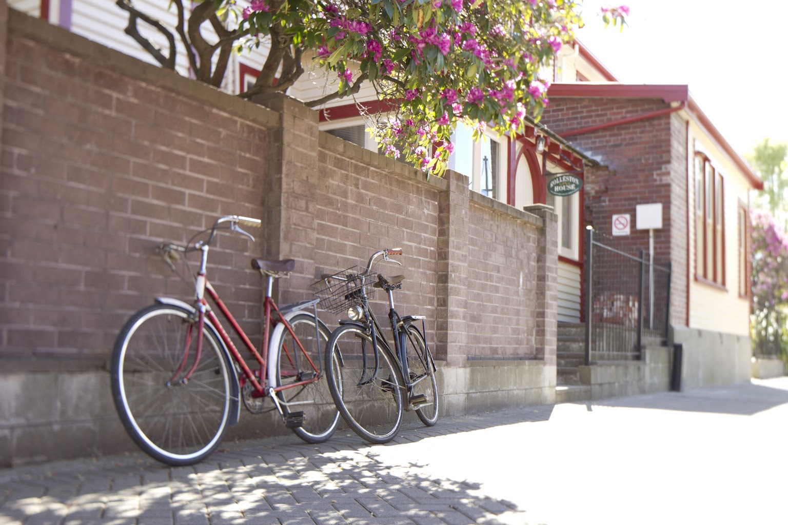 vintage bikes beside a wall