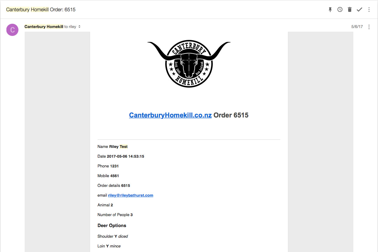 order email from canterbury homekill