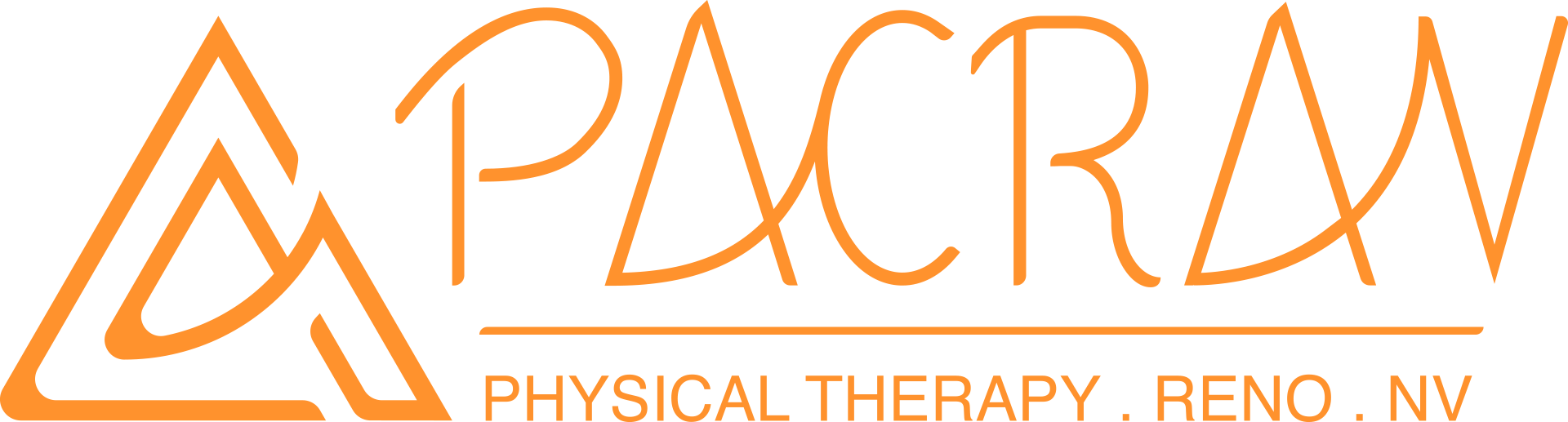 pacrav physio therapy logo in full with icon work mark and tagline
