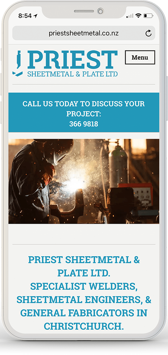 priest sheetmetal website on an iPhone x