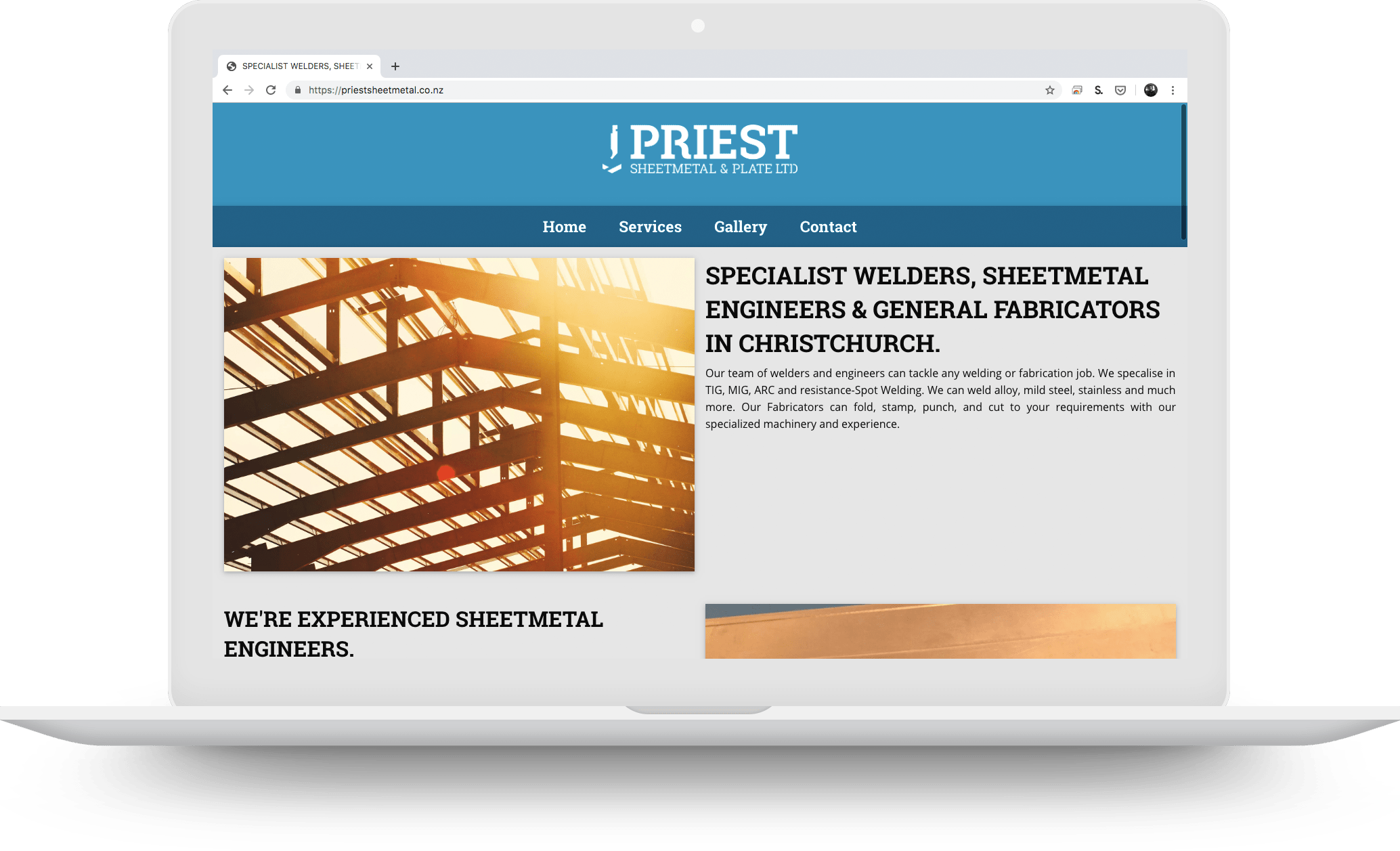 priest sheetmetal website developed by Riley Bathurst on a macbook