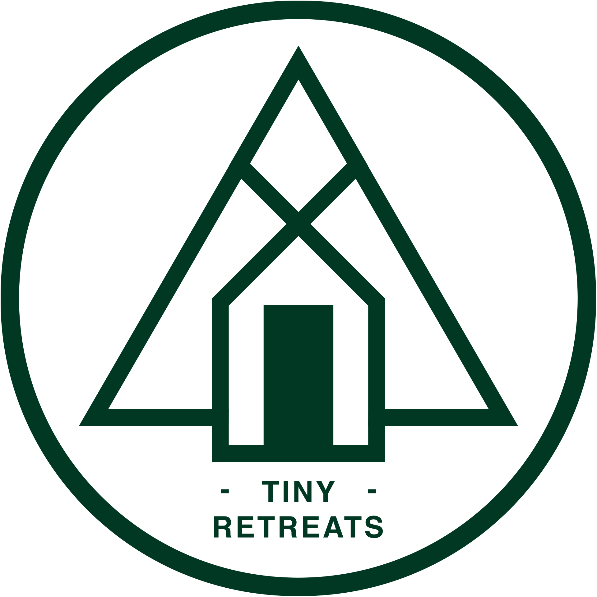 tiny retreats logo green circle with a house inside