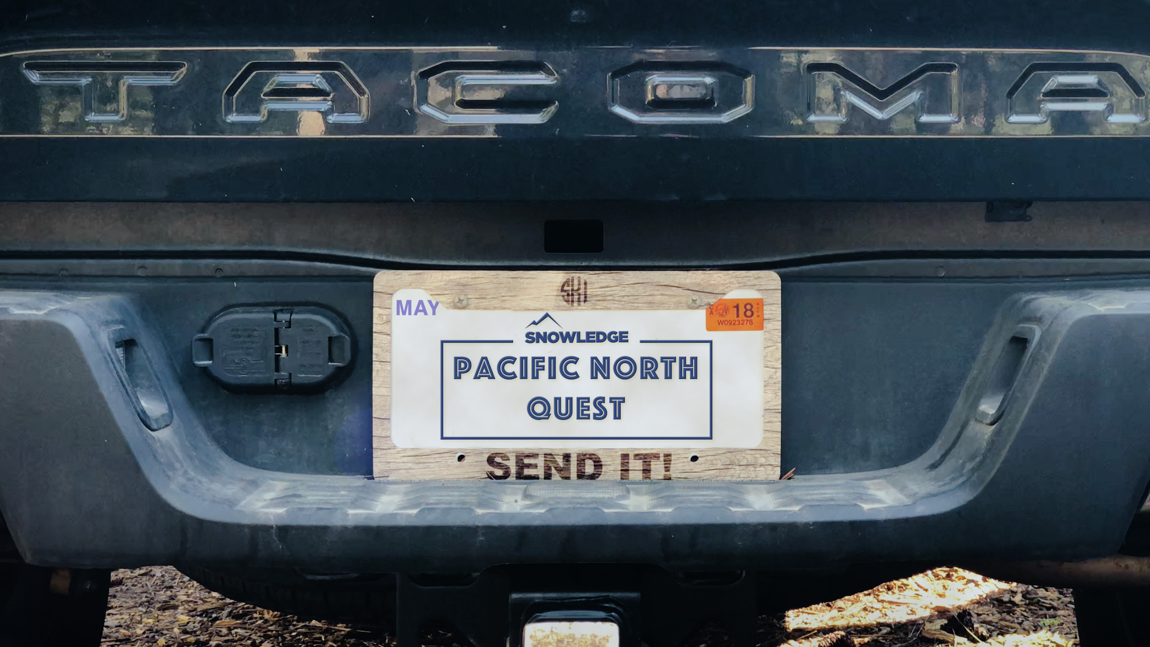 truck number plate for a snowledge ski trip