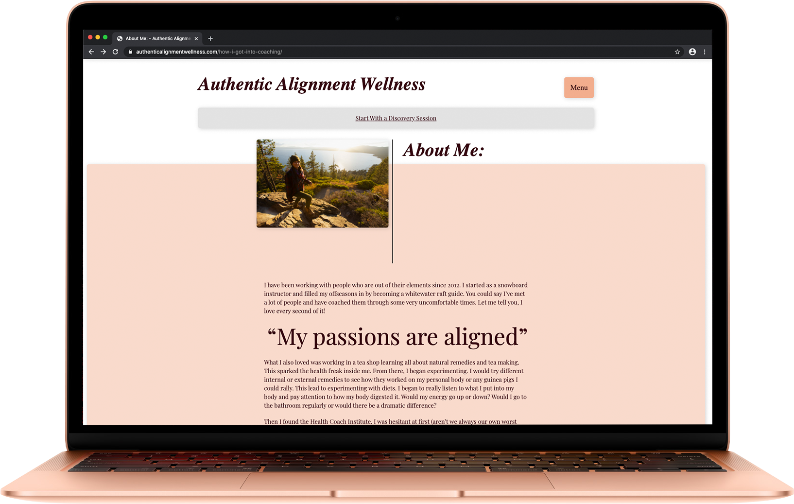 authentic alignment wellness website on a MacBook Air