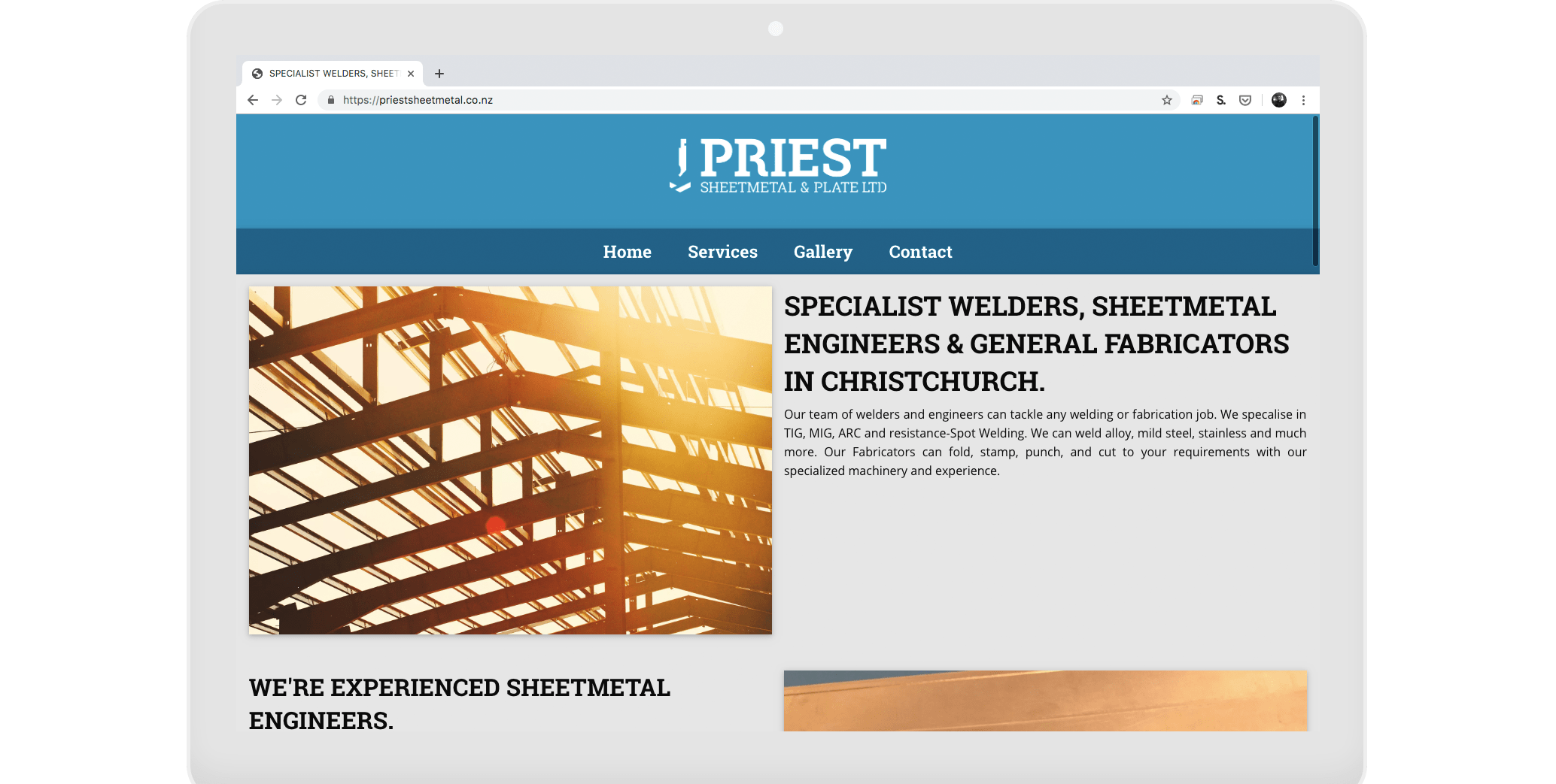 priest sheetmetal website design and development