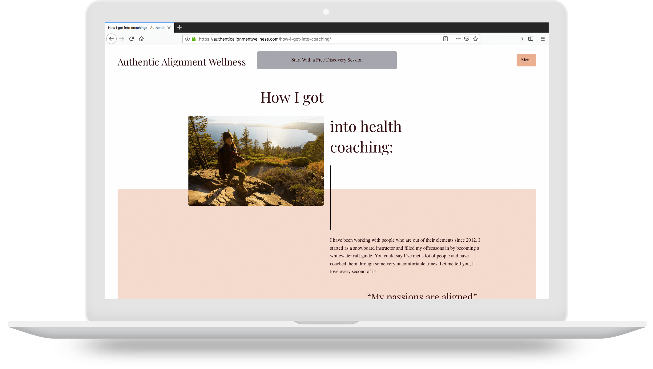 authentic alignment wellness website running on a macbook