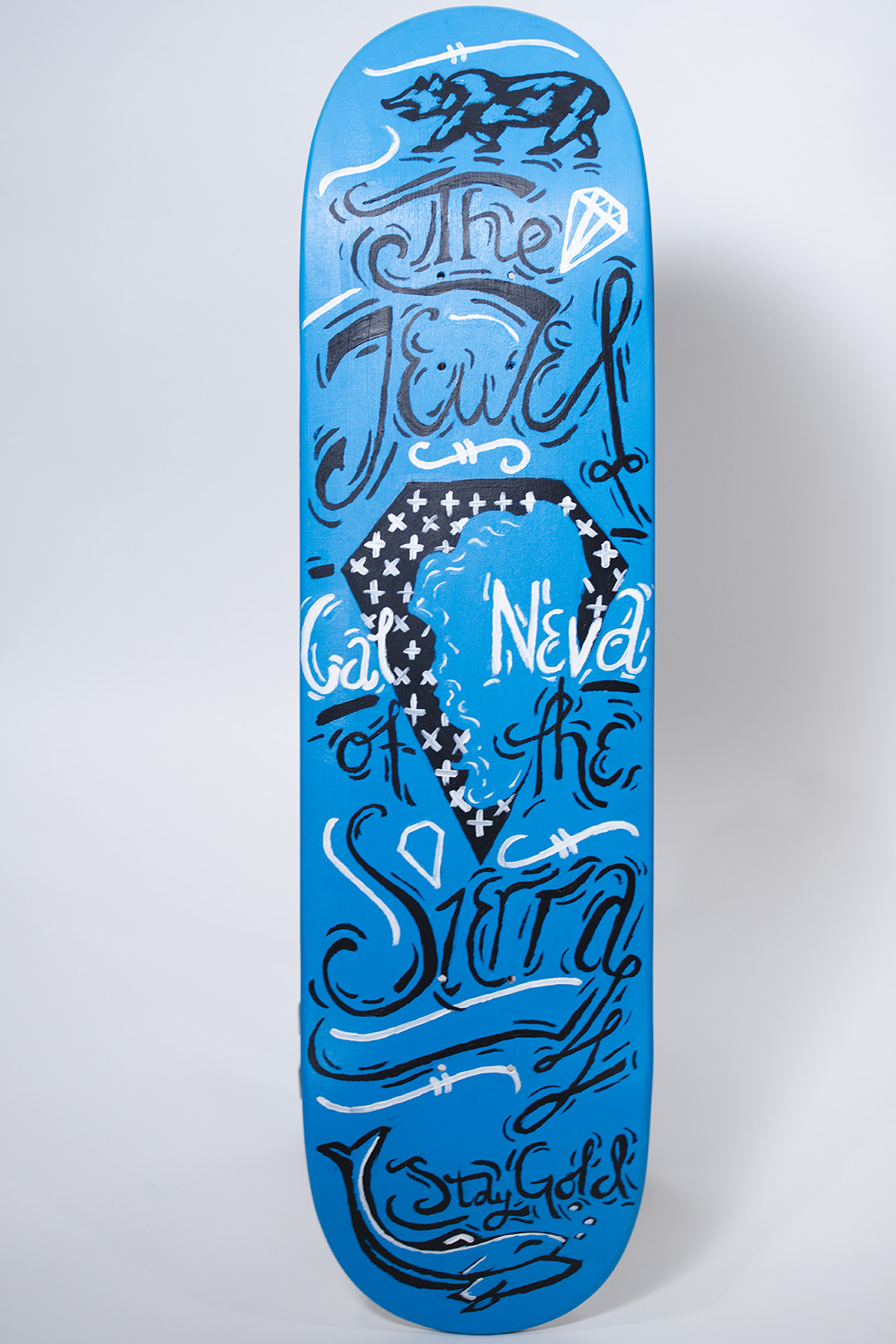 skateboard deck painted by riley bathurst