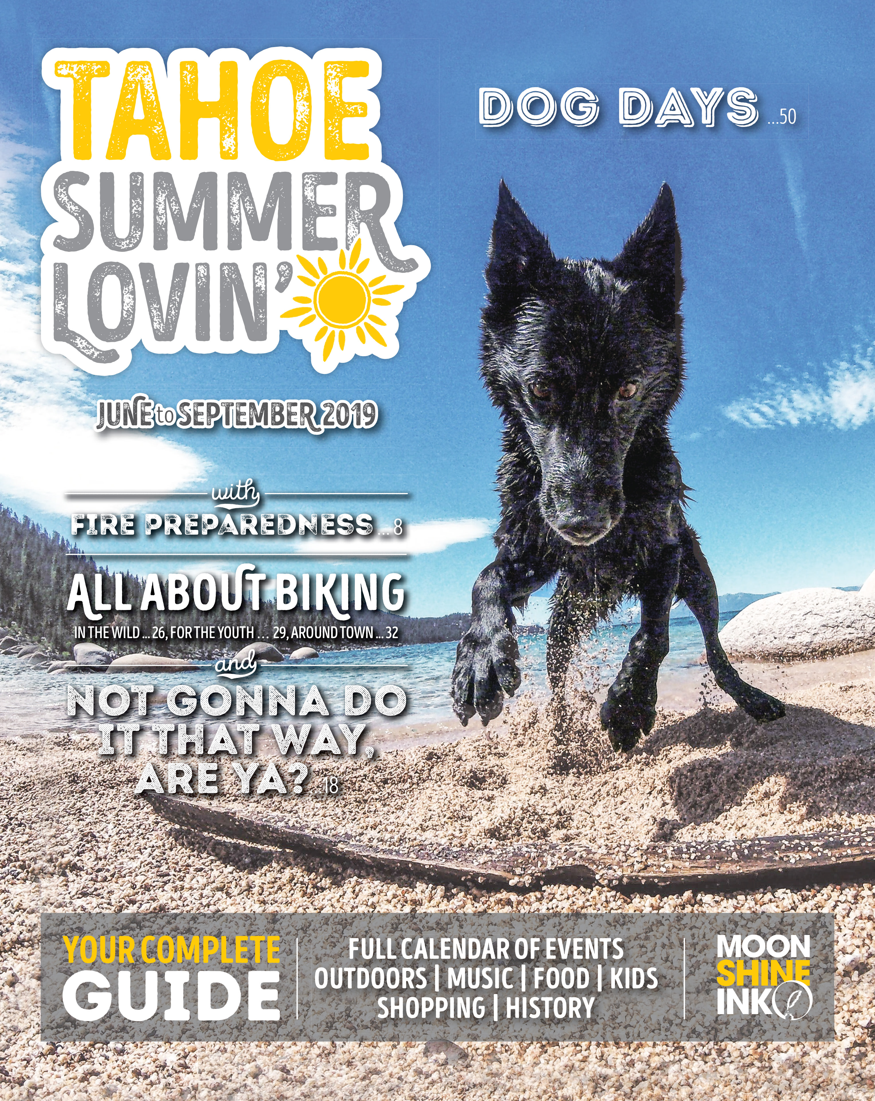 magazine cover with dog jumping on a stick