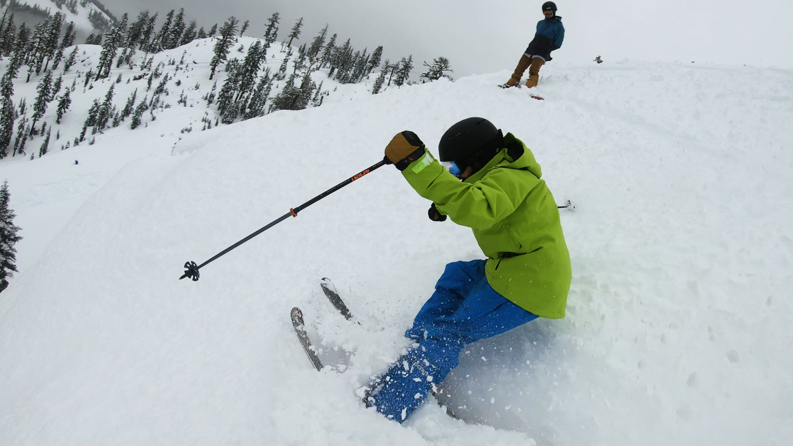 skier turning in powder at Alpine Meadows