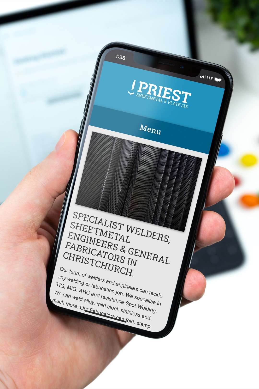 priest sheetmetal website running on an iPhone